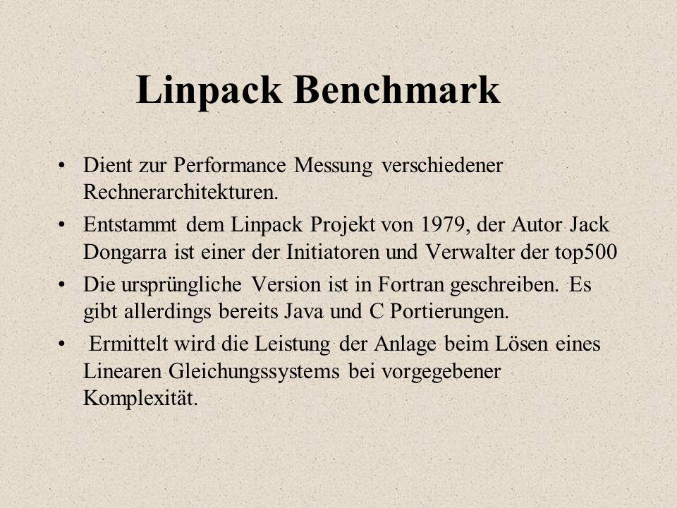 Linpack Benchmark Dient zur Performance Messung verschiedener Rechnerarchitekturen.