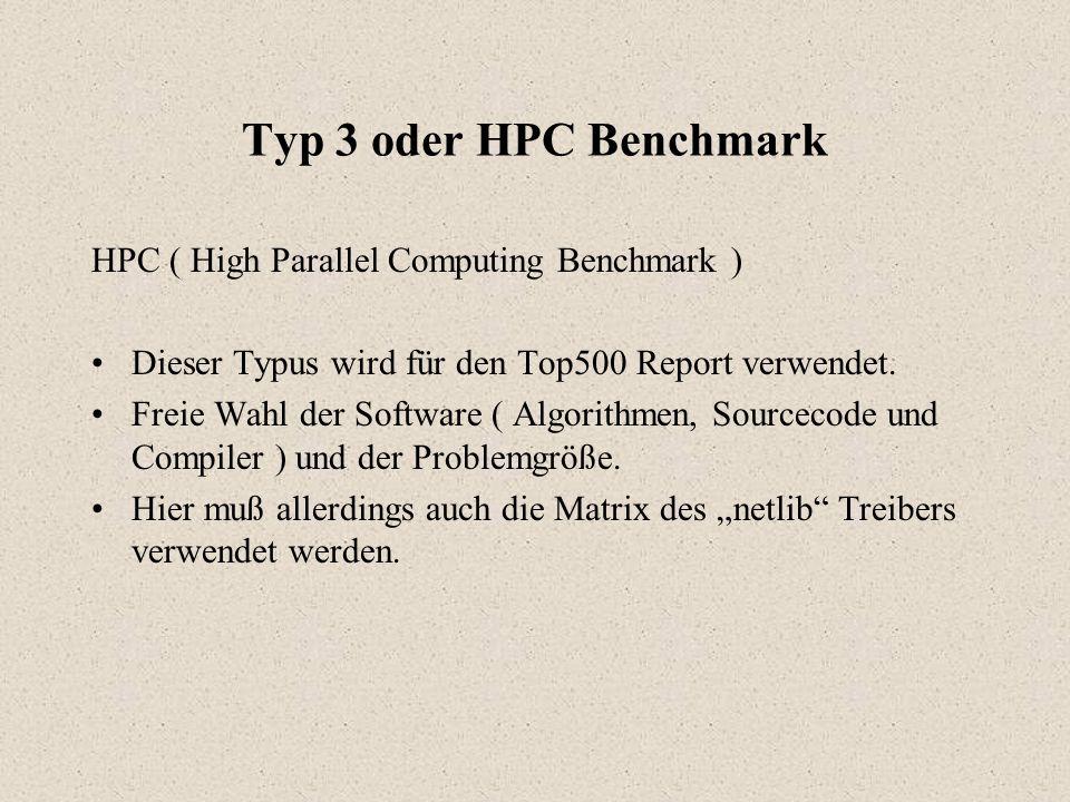 Typ 3 oder HPC Benchmark HPC ( High Parallel Computing Benchmark ) Dieser Typus wird für den Top500 Report verwendet.