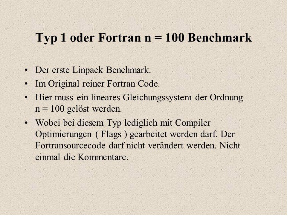 Typ 1 oder Fortran n = 100 Benchmark Der erste Linpack Benchmark.
