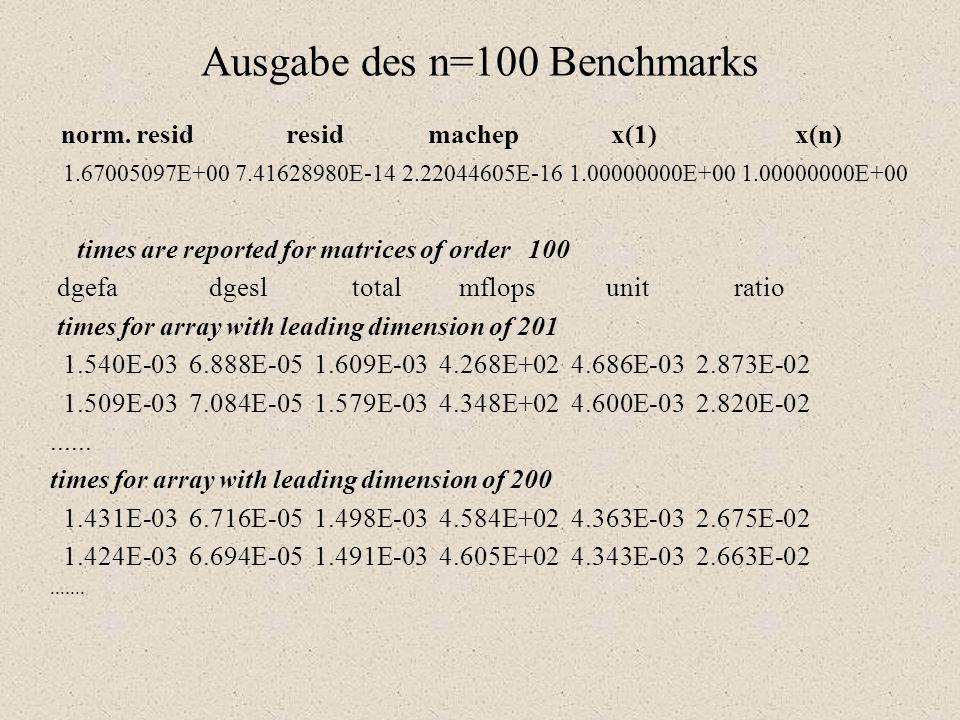 """Typ 2 oder n = 1000 Benchmark (TPP, Best Effort) TPP ( Toward Peak Performance ) """"Richtung Maximalleistung Diese Version arbeitet mit einer Matrix der Ordnung n = 1000."""