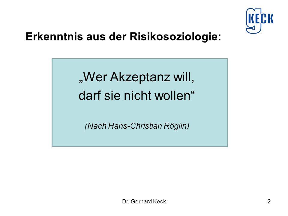 """Dr. Gerhard Keck2 Erkenntnis aus der Risikosoziologie: """"Wer Akzeptanz will, darf sie nicht wollen"""" (Nach Hans-Christian Röglin)"""