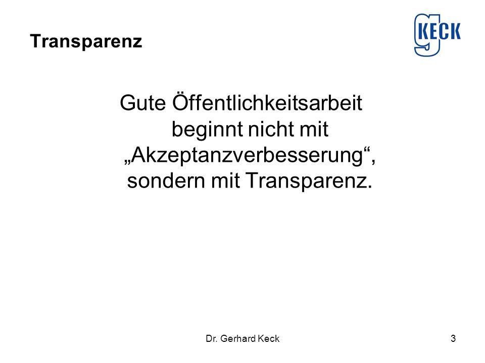 """Transparenz Gute Öffentlichkeitsarbeit beginnt nicht mit """"Akzeptanzverbesserung"""", sondern mit Transparenz. Dr. Gerhard Keck3"""