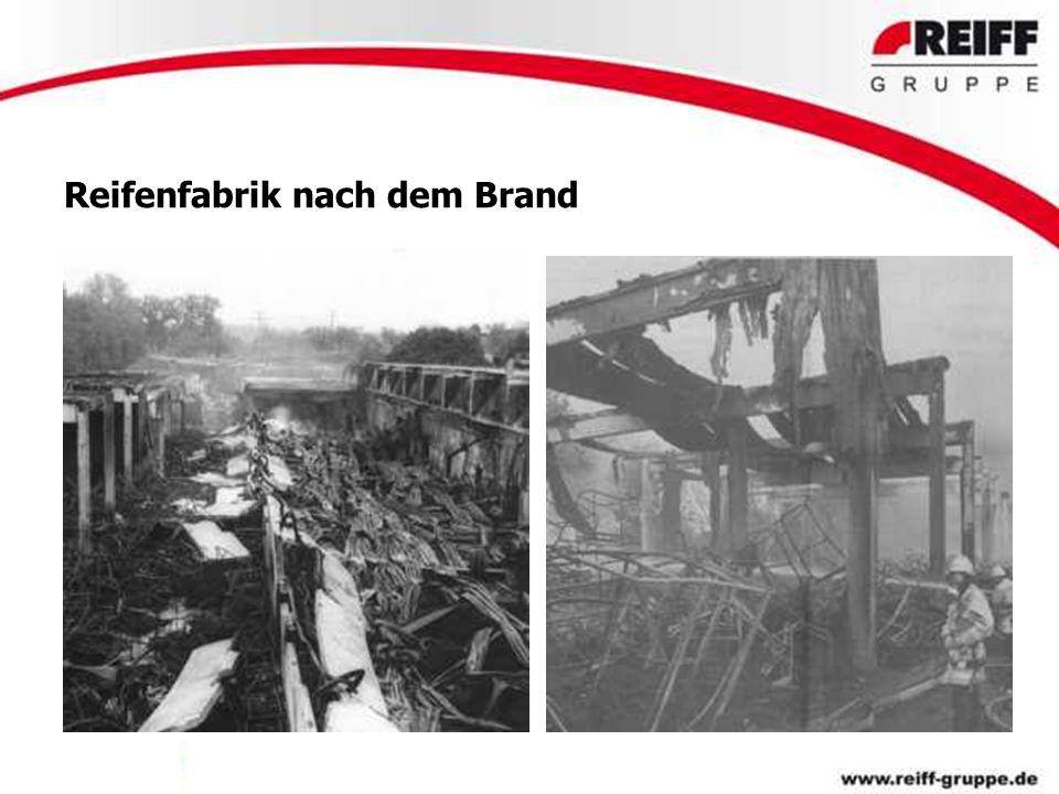 Reifenfabrik nach dem Brand