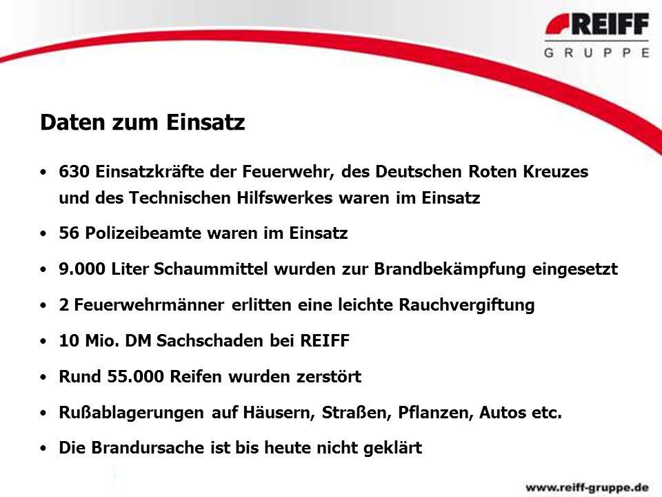Daten zum Einsatz 630 Einsatzkräfte der Feuerwehr, des Deutschen Roten Kreuzes und des Technischen Hilfswerkes waren im Einsatz 56 Polizeibeamte waren