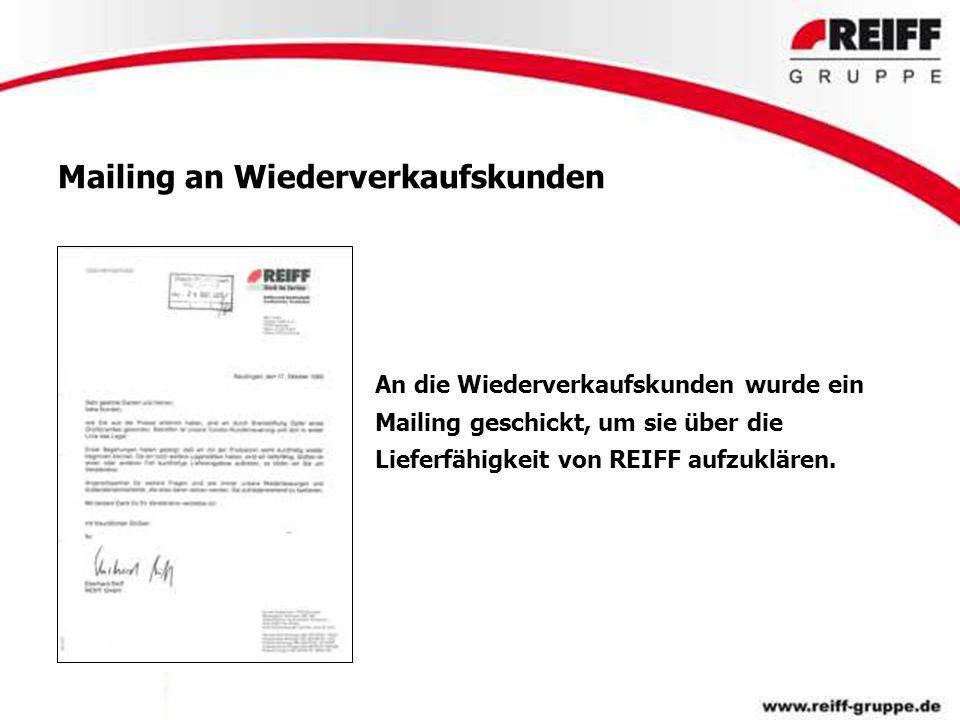 Mailing an Wiederverkaufskunden An die Wiederverkaufskunden wurde ein Mailing geschickt, um sie über die Lieferfähigkeit von REIFF aufzuklären.