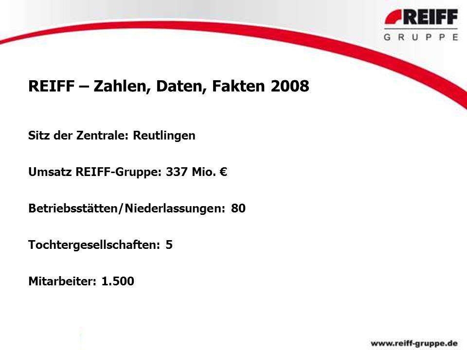 REIFF – Zahlen, Daten, Fakten 2008 Sitz der Zentrale: Reutlingen Umsatz REIFF-Gruppe: 337 Mio. € Betriebsstätten/Niederlassungen: 80 Tochtergesellscha