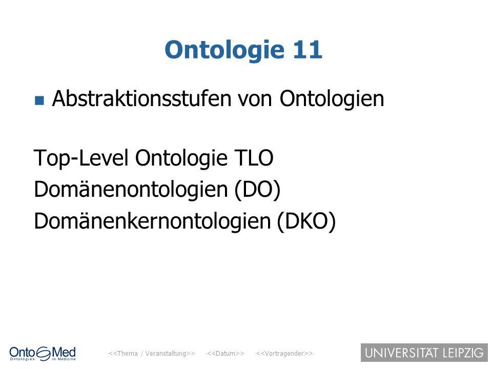 > > > Ontologie 11 Abstraktionsstufen von Ontologien Top-Level Ontologie TLO Domänenontologien (DO) Domänenkernontologien (DKO)