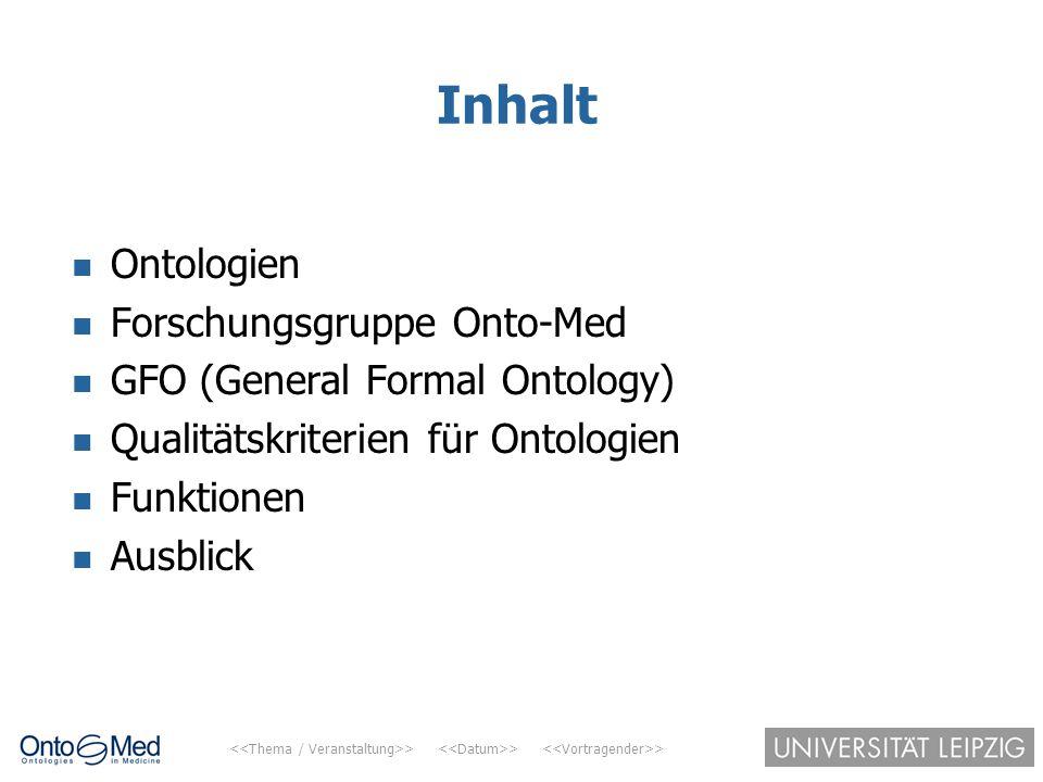 > > > Inhalt Ontologien Forschungsgruppe Onto-Med GFO (General Formal Ontology) Qualitätskriterien für Ontologien Funktionen Ausblick