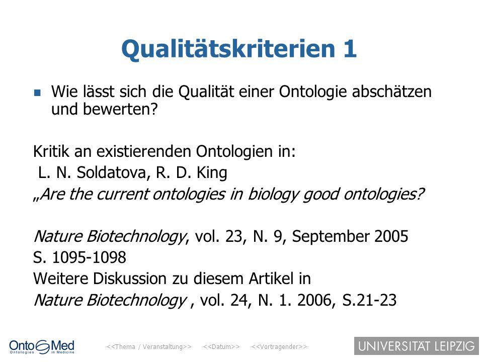 > > > Qualitätskriterien 1 Wie lässt sich die Qualität einer Ontologie abschätzen und bewerten? Kritik an existierenden Ontologien in: L. N. Soldatova