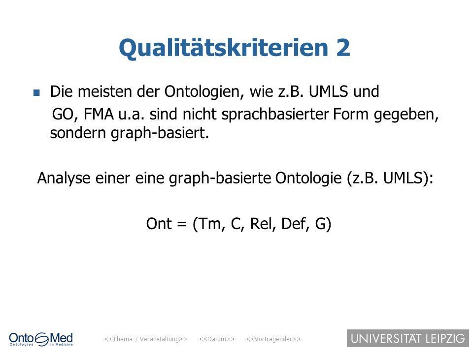 > > > Qualitätskriterien 2 Die meisten der Ontologien, wie z.B. UMLS und GO, FMA u.a. sind nicht sprachbasierter Form gegeben, sondern graph-basiert.