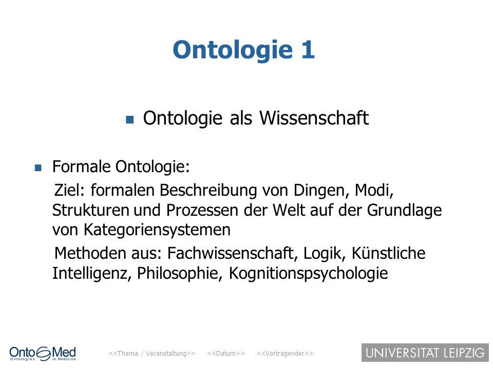 > > > Ontologie 1 Ontologie als Wissenschaft Formale Ontologie: Ziel: formalen Beschreibung von Dingen, Modi, Strukturen und Prozessen der Welt auf de