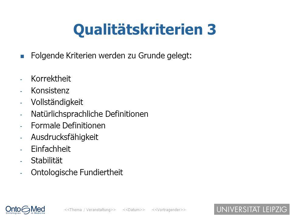 > > > Qualitätskriterien 3 Folgende Kriterien werden zu Grunde gelegt: - Korrektheit - Konsistenz - Vollständigkeit - Natürlichsprachliche Definitione