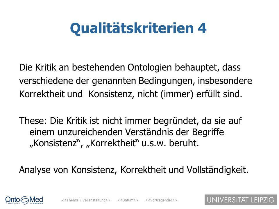 > > > Qualitätskriterien 4 Die Kritik an bestehenden Ontologien behauptet, dass verschiedene der genannten Bedingungen, insbesondere Korrektheit und K