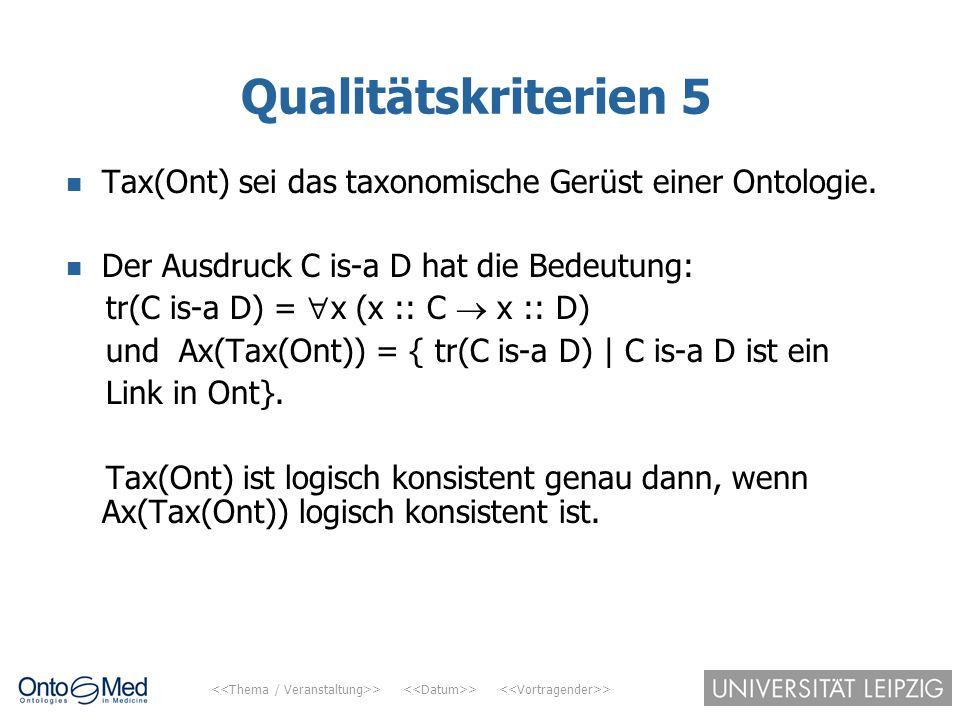 > > > Qualitätskriterien 5 Tax(Ont) sei das taxonomische Gerüst einer Ontologie. Der Ausdruck C is-a D hat die Bedeutung: tr(C is-a D) =  x (x :: C 