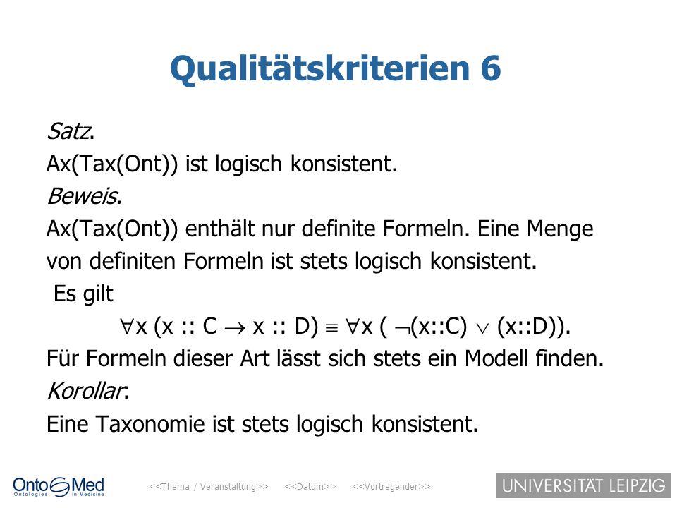 > > > Qualitätskriterien 6 Satz. Ax(Tax(Ont)) ist logisch konsistent. Beweis. Ax(Tax(Ont)) enthält nur definite Formeln. Eine Menge von definiten Form