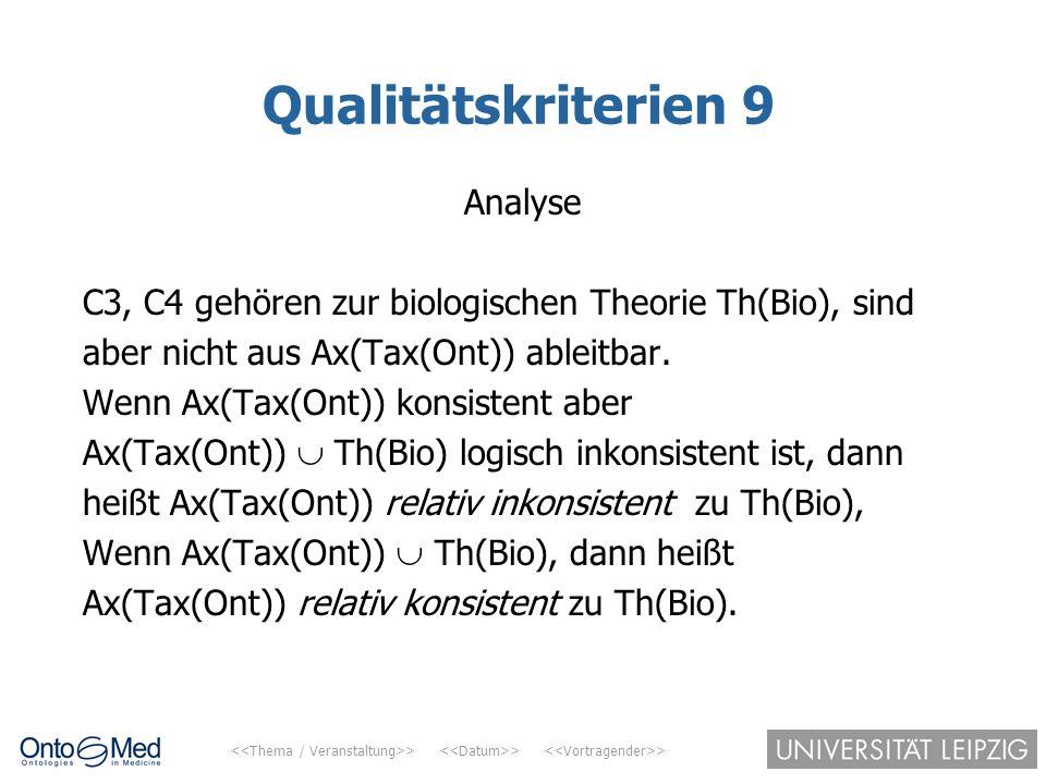 > > > Qualitätskriterien 9 Analyse C3, C4 gehören zur biologischen Theorie Th(Bio), sind aber nicht aus Ax(Tax(Ont)) ableitbar. Wenn Ax(Tax(Ont)) kons