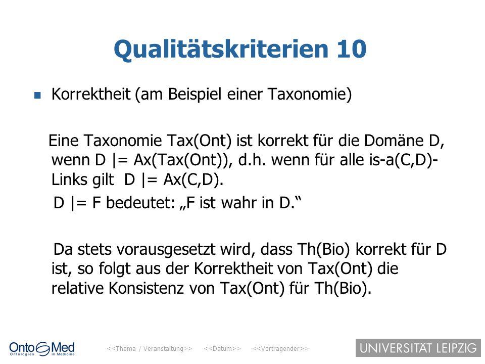 > > > Qualitätskriterien 10 Korrektheit (am Beispiel einer Taxonomie) Eine Taxonomie Tax(Ont) ist korrekt für die Domäne D, wenn D |= Ax(Tax(Ont)), d.