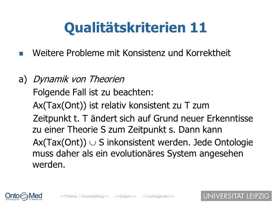 > > > Qualitätskriterien 11 Weitere Probleme mit Konsistenz und Korrektheit a) Dynamik von Theorien Folgende Fall ist zu beachten: Ax(Tax(Ont)) ist re