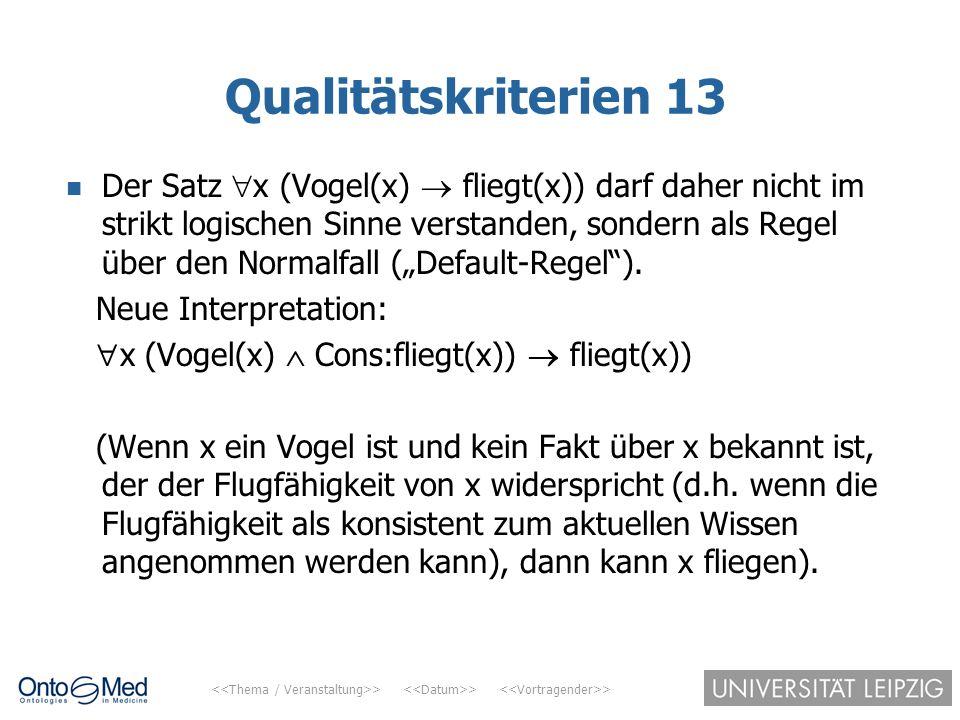 > > > Qualitätskriterien 13 Der Satz  x (Vogel(x)  fliegt(x)) darf daher nicht im strikt logischen Sinne verstanden, sondern als Regel über den Norm