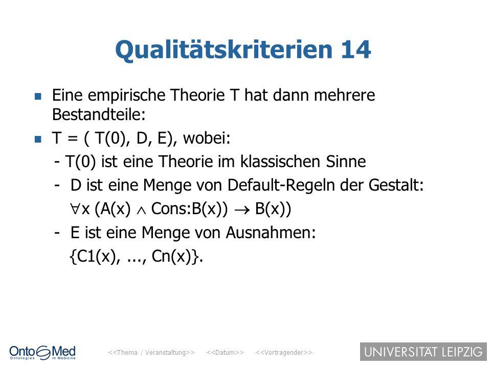 > > > Qualitätskriterien 14 Eine empirische Theorie T hat dann mehrere Bestandteile: T = ( T(0), D, E), wobei: - T(0) ist eine Theorie im klassischen