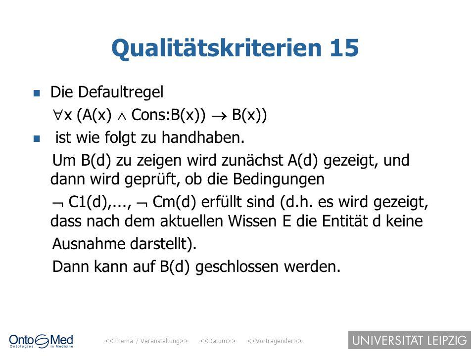 > > > Qualitätskriterien 15 Die Defaultregel  x (A(x)  Cons:B(x))  B(x)) ist wie folgt zu handhaben. Um B(d) zu zeigen wird zunächst A(d) gezeigt,