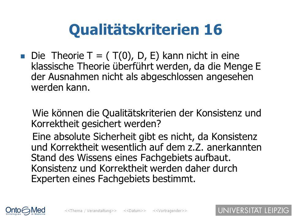 > > > Qualitätskriterien 16 Die Theorie T = ( T(0), D, E) kann nicht in eine klassische Theorie überführt werden, da die Menge E der Ausnahmen nicht a