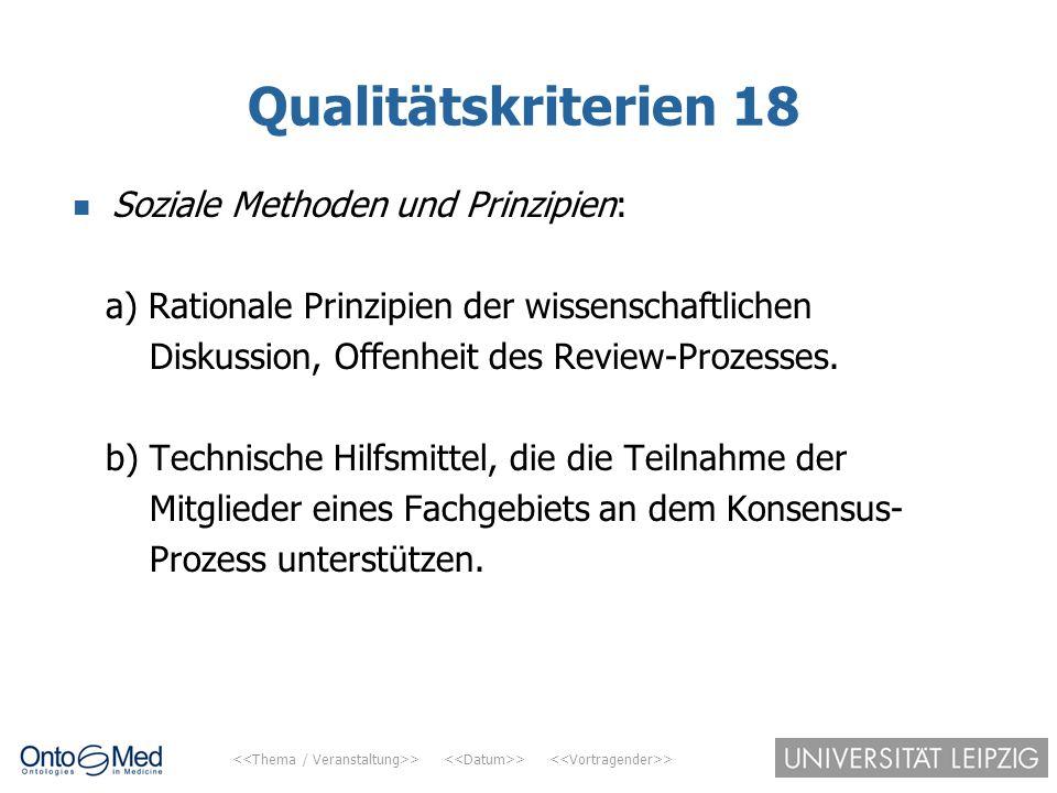 > > > Qualitätskriterien 18 Soziale Methoden und Prinzipien: a) Rationale Prinzipien der wissenschaftlichen Diskussion, Offenheit des Review-Prozesses