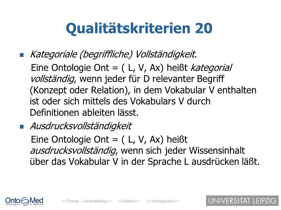 > > > Qualitätskriterien 20 Kategoriale (begriffliche) Vollständigkeit. Eine Ontologie Ont = ( L, V, Ax) heißt kategorial vollständig, wenn jeder für