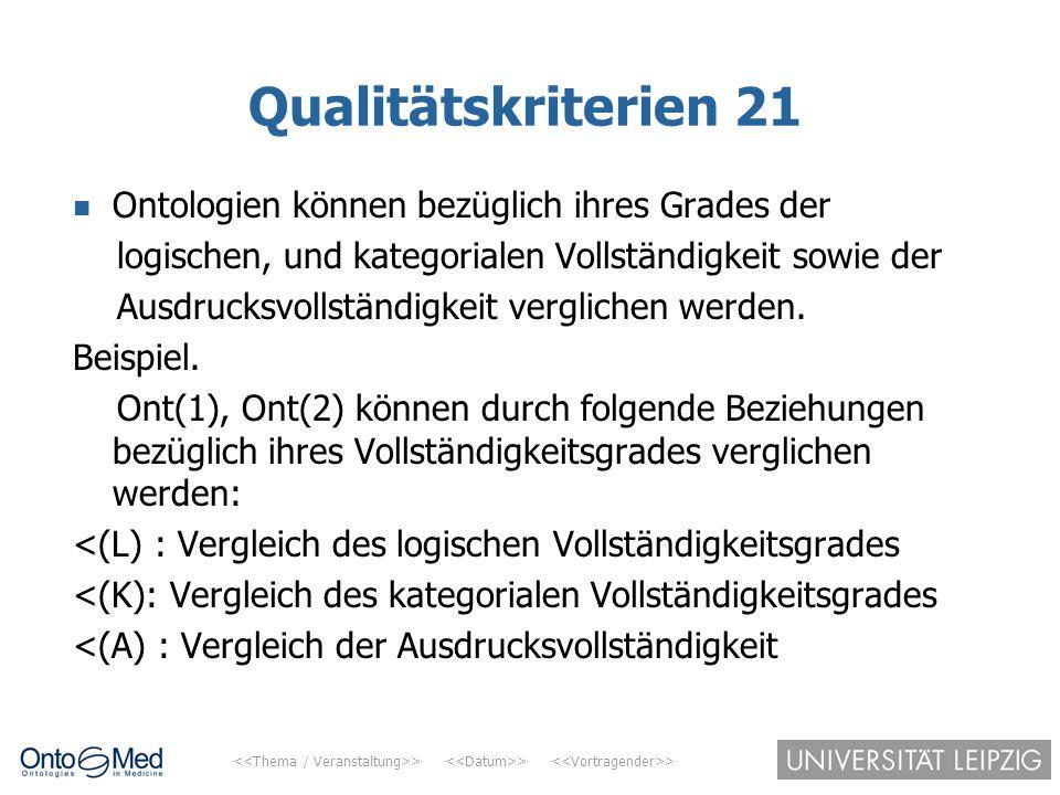 > > > Qualitätskriterien 21 Ontologien können bezüglich ihres Grades der logischen, und kategorialen Vollständigkeit sowie der Ausdrucksvollständigkei