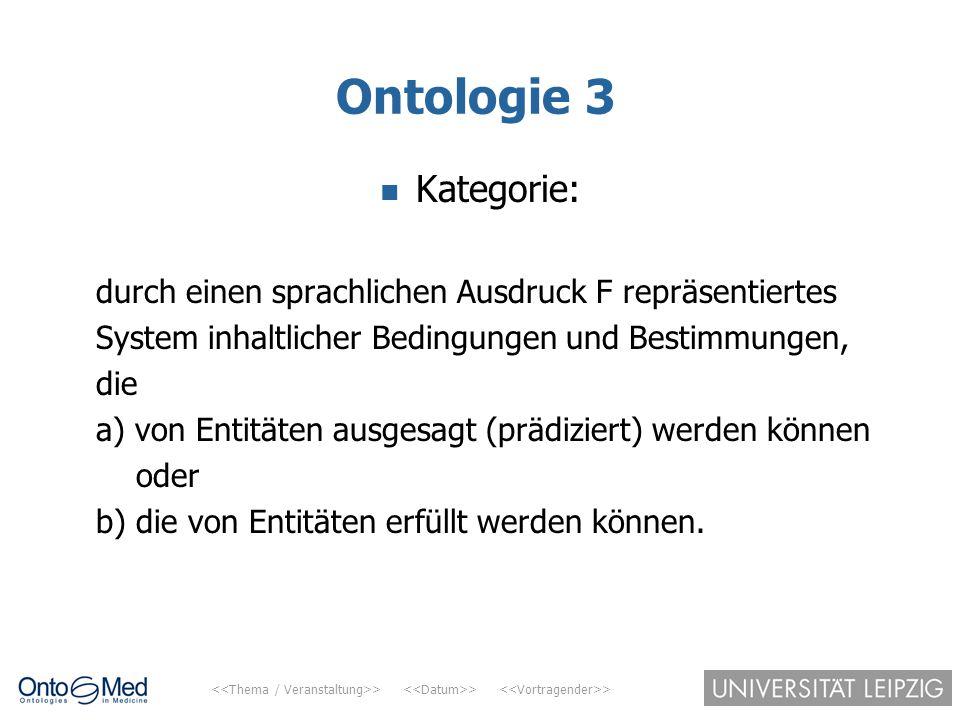 > > > Ontologie 3 Kategorie: durch einen sprachlichen Ausdruck F repräsentiertes System inhaltlicher Bedingungen und Bestimmungen, die a) von Entitäte