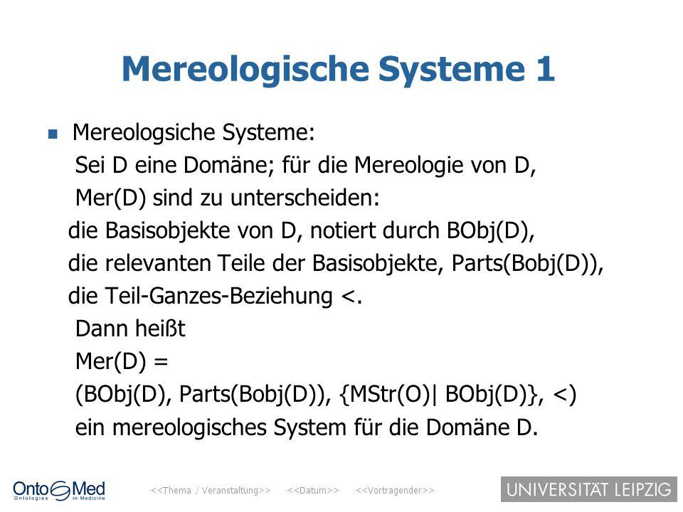 > > > Mereologische Systeme 1 Mereologsiche Systeme: Sei D eine Domäne; für die Mereologie von D, Mer(D) sind zu unterscheiden: die Basisobjekte von D