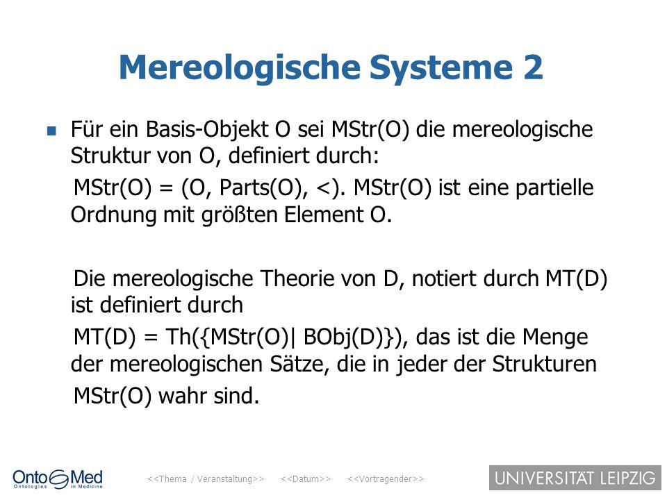 > > > Mereologische Systeme 2 Für ein Basis-Objekt O sei MStr(O) die mereologische Struktur von O, definiert durch: MStr(O) = (O, Parts(O), <). MStr(O