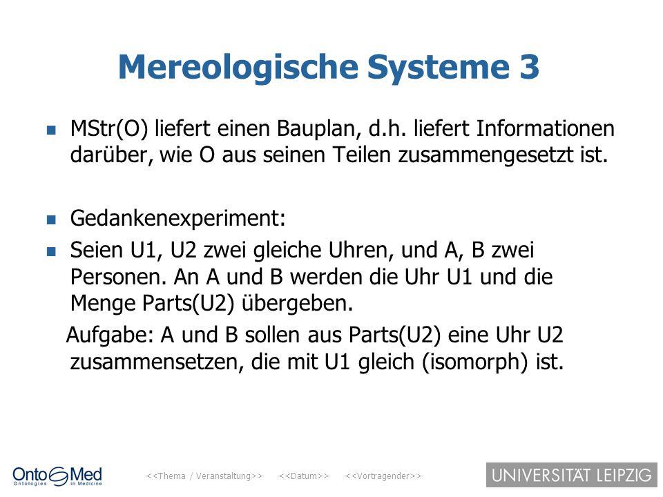 > > > Mereologische Systeme 3 MStr(O) liefert einen Bauplan, d.h. liefert Informationen darüber, wie O aus seinen Teilen zusammengesetzt ist. Gedanken