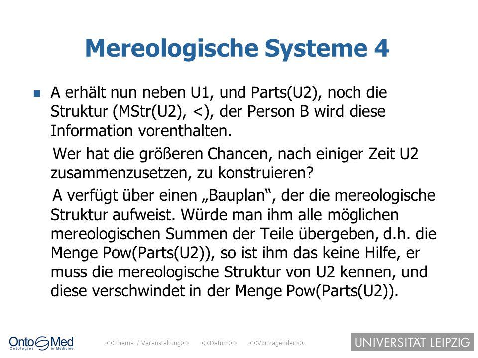 > > > Mereologische Systeme 4 A erhält nun neben U1, und Parts(U2), noch die Struktur (MStr(U2), <), der Person B wird diese Information vorenthalten.