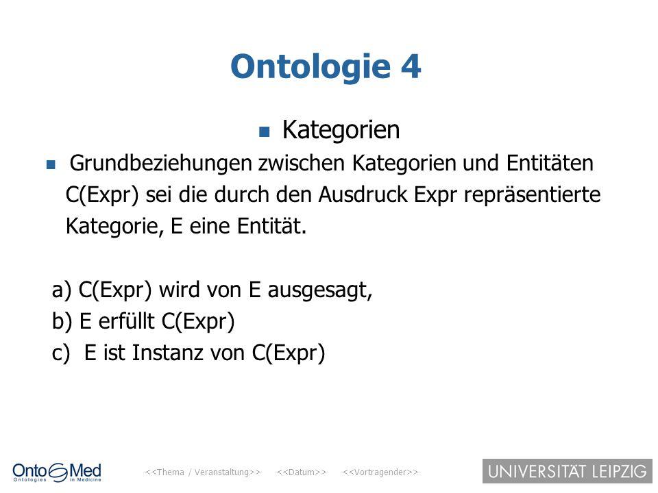 > > > Ontologie 4 Kategorien Grundbeziehungen zwischen Kategorien und Entitäten C(Expr) sei die durch den Ausdruck Expr repräsentierte Kategorie, E ei