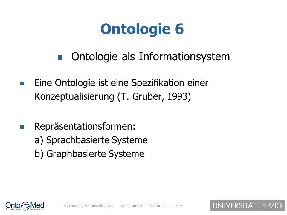 > > > Ontologie 6 Ontologie als Informationsystem Eine Ontologie ist eine Spezifikation einer Konzeptualisierung (T. Gruber, 1993) Repräsentationsform