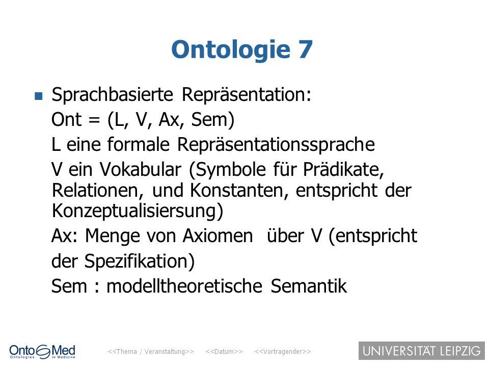 > > > Ontologie 7 Sprachbasierte Repräsentation: Ont = (L, V, Ax, Sem) L eine formale Repräsentationssprache V ein Vokabular (Symbole für Prädikate, R