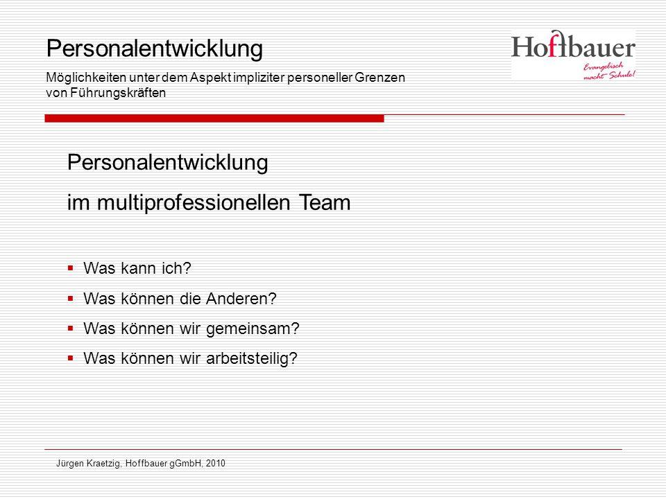 Jürgen Kraetzig, Hoffbauer gGmbH, 2010 Personalentwicklung im multiprofessionellen Team  Was kann ich?  Was können die Anderen?  Was können wir gem