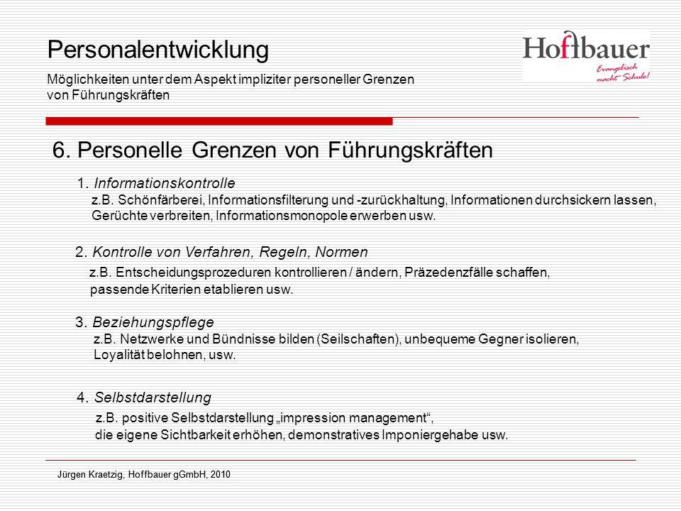 Jürgen Kraetzig, Hoffbauer gGmbH, 2010 6. Personelle Grenzen von Führungskräften Jürgen Kraetzig, Hoffbauer gGmbH, 2010 1. Informationskontrolle z.B.