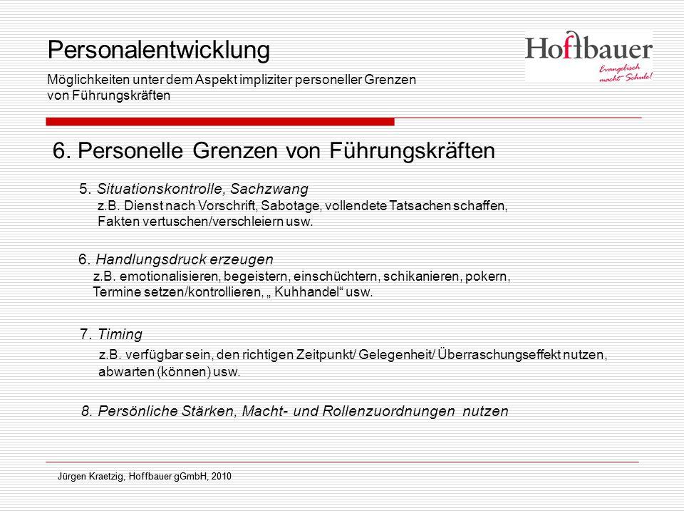 Jürgen Kraetzig, Hoffbauer gGmbH, 2010 6. Personelle Grenzen von Führungskräften Jürgen Kraetzig, Hoffbauer gGmbH, 2010 5. Situationskontrolle, Sachzw