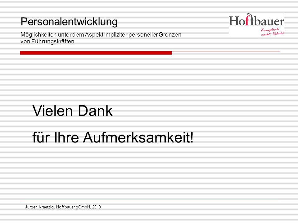 Jürgen Kraetzig, Hoffbauer gGmbH, 2010 Vielen Dank für Ihre Aufmerksamkeit! Personalentwicklung Möglichkeiten unter dem Aspekt impliziter personeller