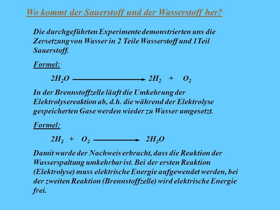 Die durchgeführten Experimente demonstrierten uns die Zersetzung von Wasser in 2 Teile Wasserstoff und 1Teil Sauerstoff. Formel: 2H 2 O 2H 2 + O 2 In
