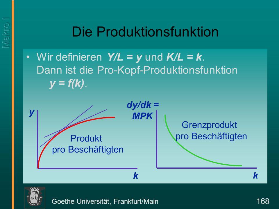 Goethe-Universität, Frankfurt/Main 168 Die Produktionsfunktion Wir definieren Y/L = y und K/L = k. Dann ist die Pro-Kopf-Produktionsfunktion y = f(k).