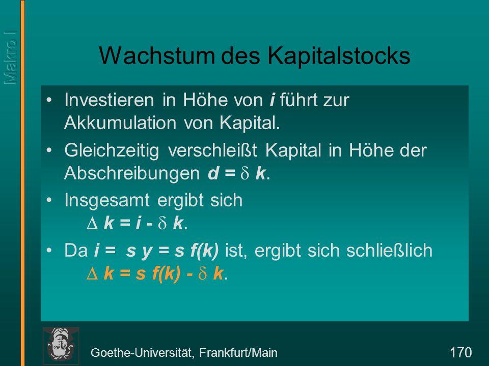Goethe-Universität, Frankfurt/Main 170 Wachstum des Kapitalstocks Investieren in Höhe von i führt zur Akkumulation von Kapital. Gleichzeitig verschlei