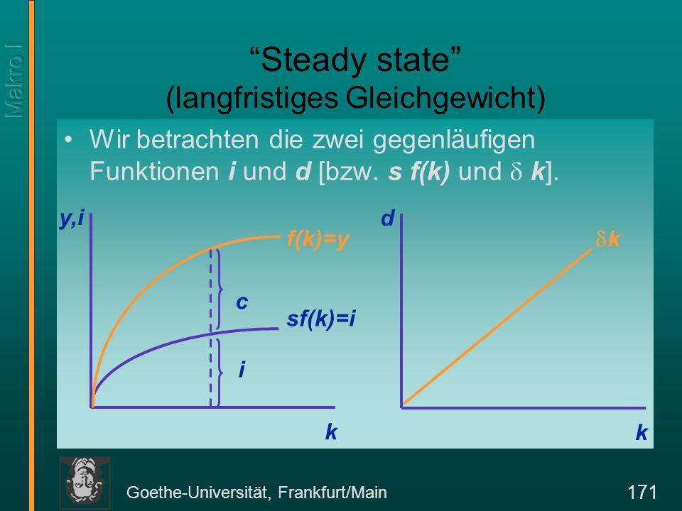 """Goethe-Universität, Frankfurt/Main 171 """"Steady state"""" (langfristiges Gleichgewicht) Wir betrachten die zwei gegenläufigen Funktionen i und d [bzw. s f"""