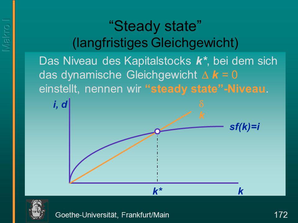 """Goethe-Universität, Frankfurt/Main 172 """"Steady state"""" (langfristiges Gleichgewicht) Das Niveau des Kapitalstocks k*, bei dem sich das dynamische Gleic"""