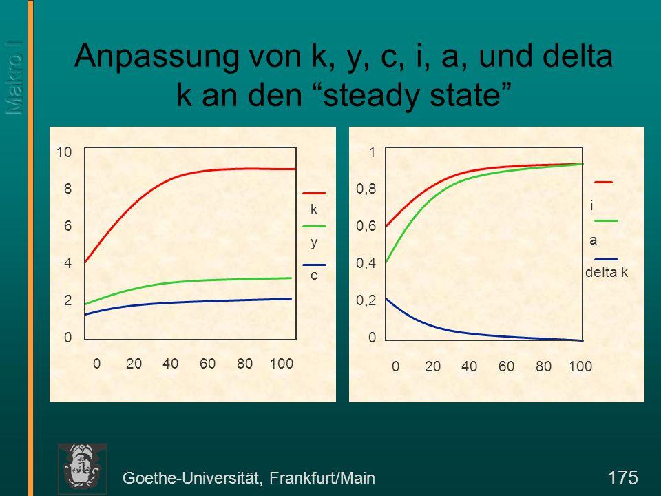 "Goethe-Universität, Frankfurt/Main 175 Anpassung von k, y, c, i, a, und delta k an den ""steady state"" 1 0,8 0,6 0,4 0,2 0 0 20 40 60 80 100 i a delta"