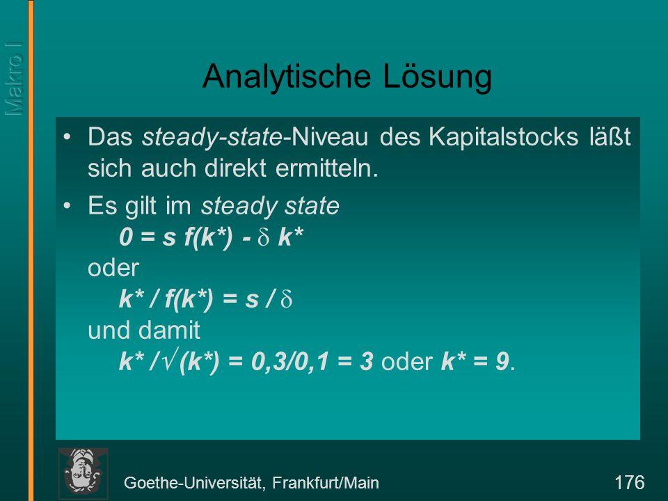 Goethe-Universität, Frankfurt/Main 176 Analytische Lösung Das steady-state-Niveau des Kapitalstocks läßt sich auch direkt ermitteln. Es gilt im steady