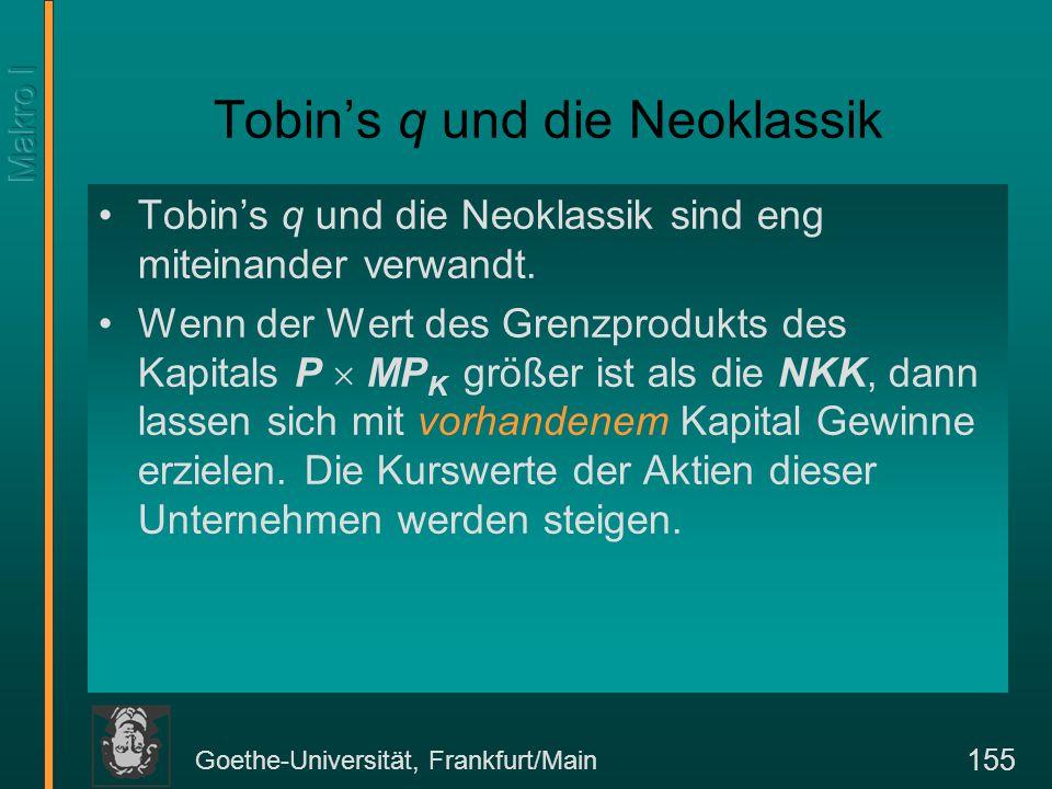 Goethe-Universität, Frankfurt/Main 155 Tobin's q und die Neoklassik Tobin's q und die Neoklassik sind eng miteinander verwandt. Wenn der Wert des Gren