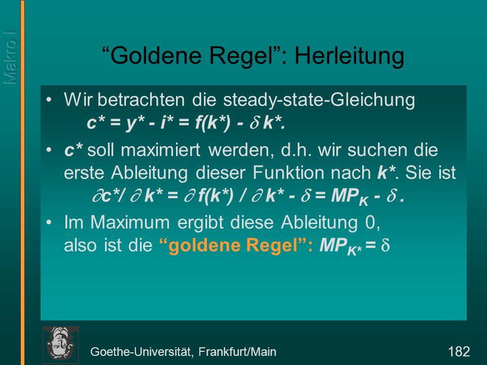 Goethe-Universität, Frankfurt/Main 182 Wir betrachten die steady-state-Gleichung c* = y* - i* = f(k*) -  k*. c* soll maximiert werden, d.h. wir suche